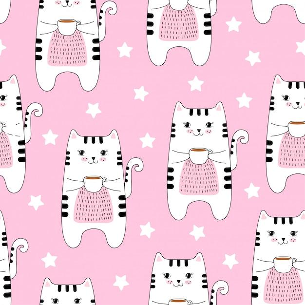Modèle sans couture avec des chats mignons et café. Vecteur Premium