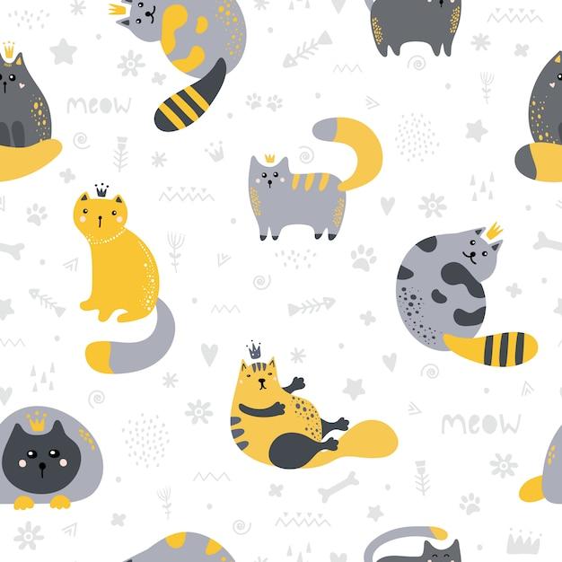 Modèle sans couture avec des chats mignons de style scandinave Vecteur Premium