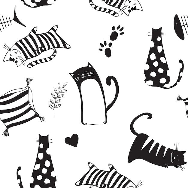 Modèle sans couture avec des chats noirs Vecteur Premium