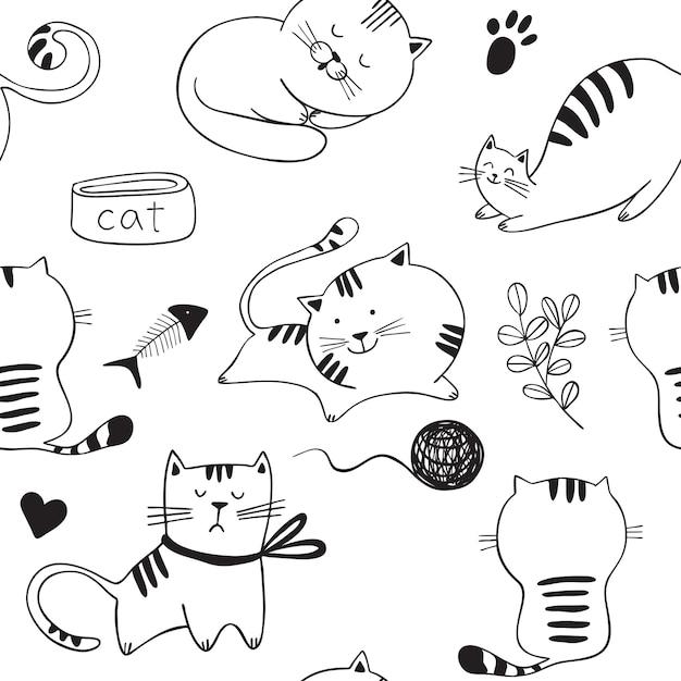 Modèle sans couture avec des chats qui jouent Vecteur Premium