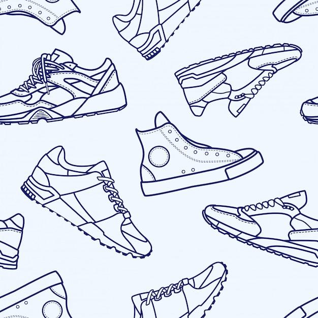 Modèle sans couture avec chaussure de sneaker ligne plate avc icône pictogramme symbole illustration Vecteur Premium