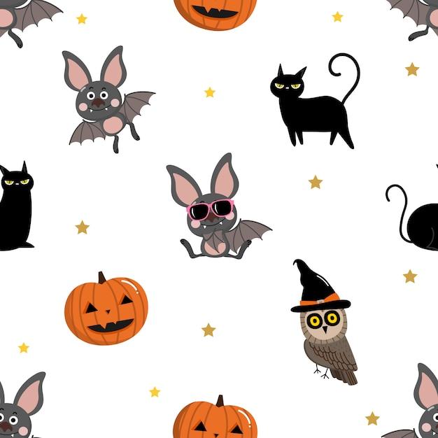 Modèle sans couture de chauve-souris, chat noir, hibou et citrouille Vecteur Premium