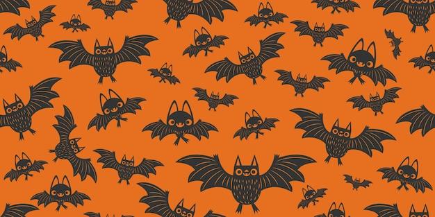 Modèle sans couture de chauves-souris d'halloween Vecteur Premium