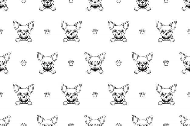 Modèle sans couture de chien chihuahua Vecteur Premium