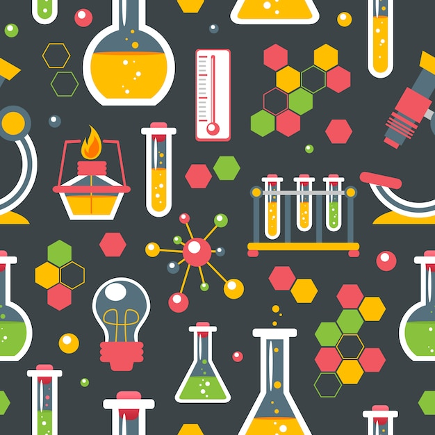 Modèle sans couture de chimie Vecteur gratuit