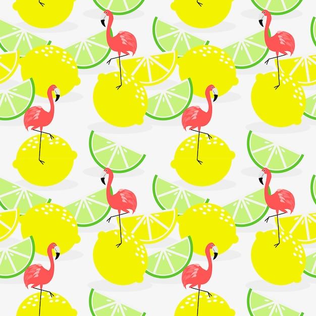 Modèle sans couture de citron et flamant d'été. Vecteur Premium