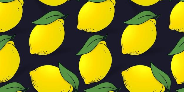 Modèle Sans Couture De Citrons Avec Des Feuilles Vecteur Premium