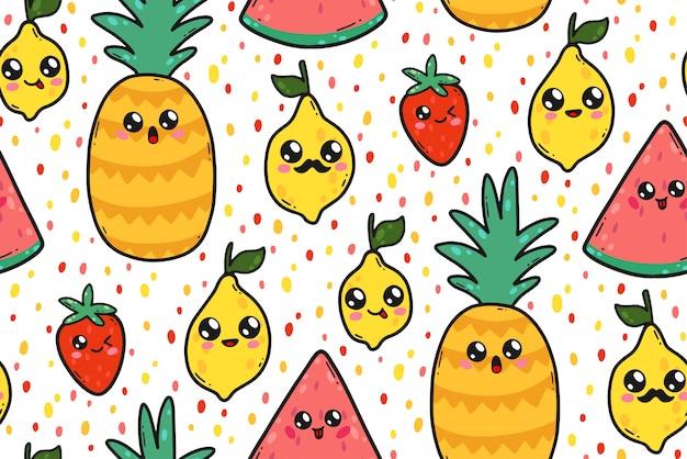 Modèle sans couture avec les citrons, les pastèques et les fraises mignons dans le style kawaii au japon. personnages de fruits heureux cartoon avec illustration de grimaces. Vecteur Premium