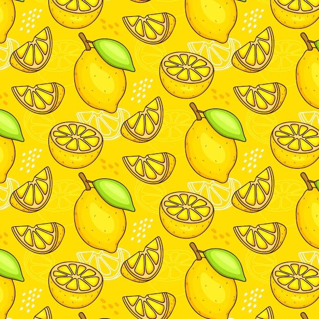 Modèle Sans Couture De Citrons Vecteur Premium