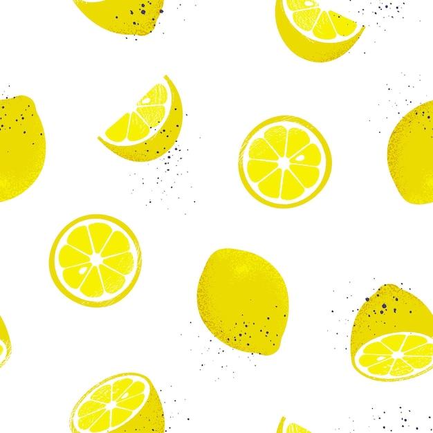 Modèle Sans Couture De Citrons. Vecteur Premium