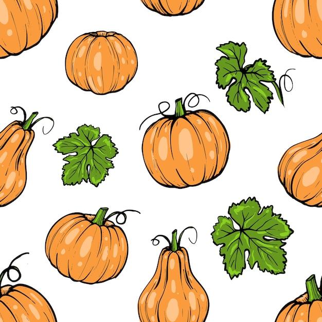 Modèle Sans Couture, Citrouille Orange Différentes Formes Pour Art De Croquis Dessiné Main Halloween Vecteur Premium