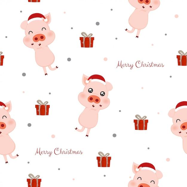 Modèle sans couture avec des cochons mignons et des boîtes-cadeaux. Vecteur Premium