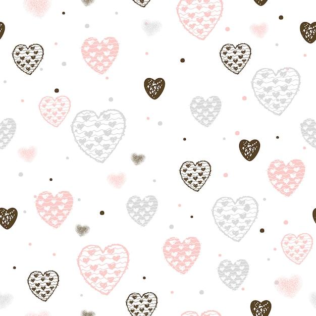 Modèle Sans Couture Avec Un Cœur Pour La Saint-valentin. Vecteur Premium