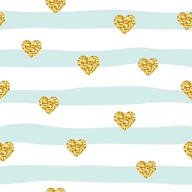 Modèle sans couture avec des coeurs de confettis de paillettes sur fond rayé Vecteur Premium
