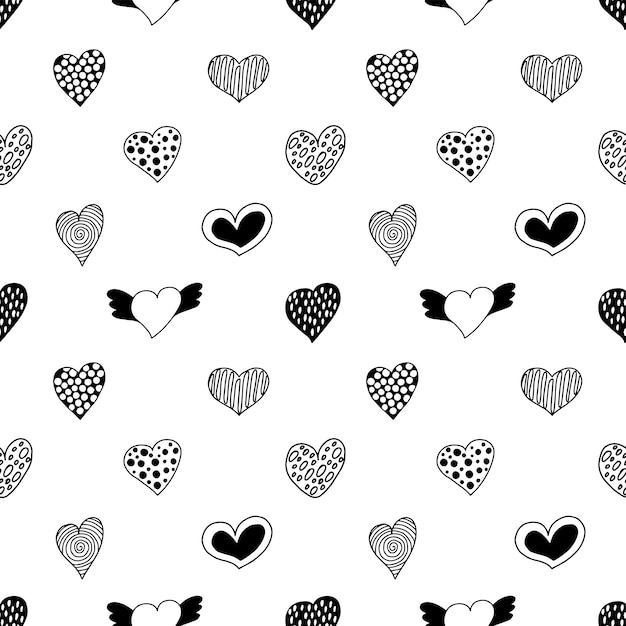 Modèle Sans Couture De Coeurs Dessinés à La Main. Vecteur Premium