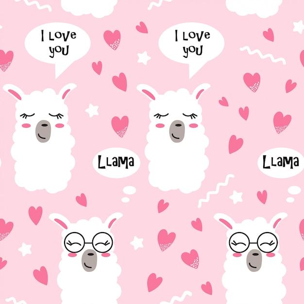 Modèle sans couture avec des coeurs et des visages de lama Vecteur Premium