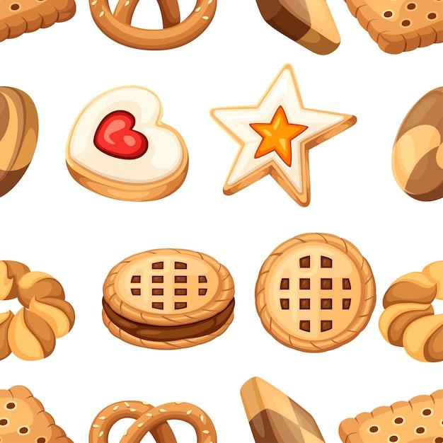 Modèle Sans Couture. Collection D'icônes De Biscuits Et Biscuits. Jeu De Cookies Plats Colorés. Cercle, étoile, Sandwich, Forme Différente. Illustration Isolé Sur Fond Blanc. Vecteur Premium
