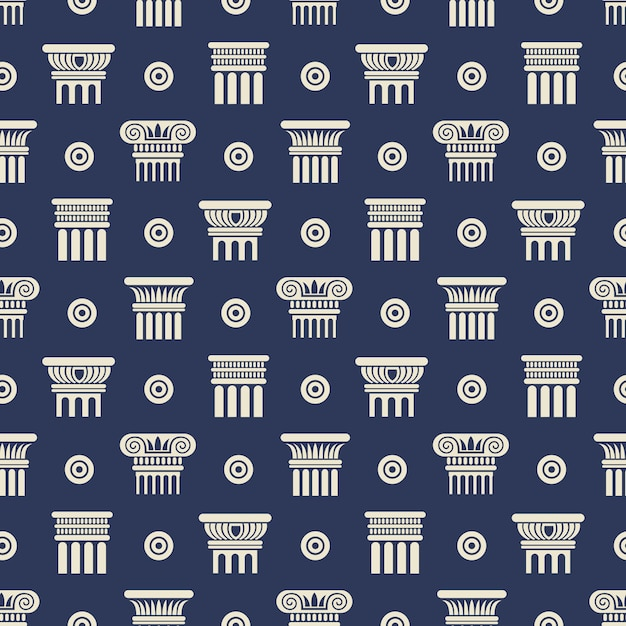 Modèle sans couture de colonnes antiques grecques et romaines Vecteur Premium