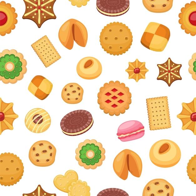 Modèle Sans Couture De Cookies De Différents Cookies Aux Pépites De Chocolat Et Biscuit, Pain D'épice Et Gaufre, Illustration. Vecteur Premium