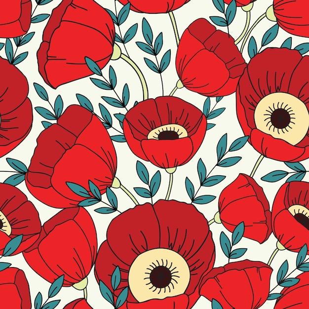 Modèle Sans Couture Avec Des Coquelicots. Fond Floral Vecteur Premium