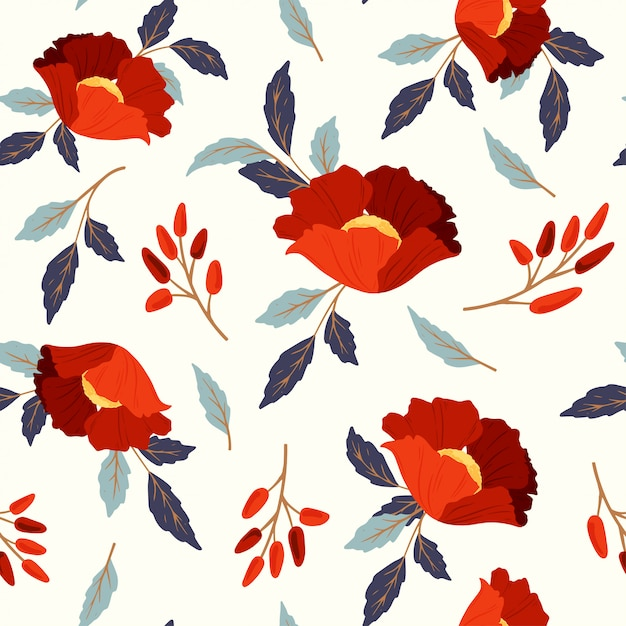 Modèle Sans Couture Avec Des Coquelicots Rouges Vecteur Premium