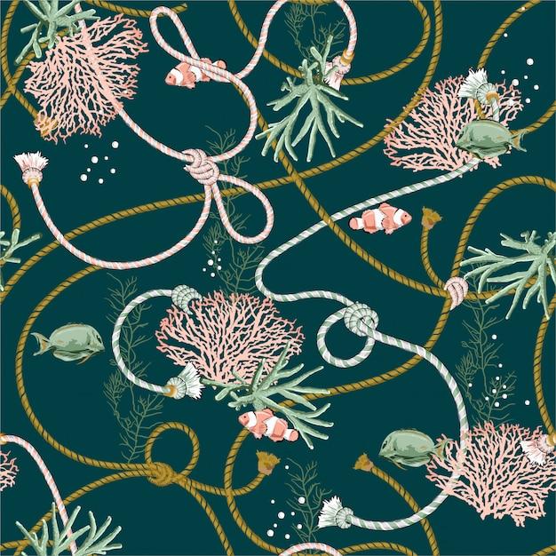 Modèle sans couture avec coraux dessinés à la main golden et trésor animal, poissons, cordes et perles de couleur vert océan foncé Vecteur Premium