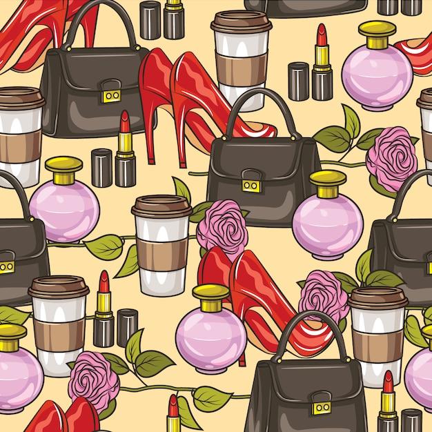 Modèle Sans Couture De Couleur Vecteur. Articles De Garde-robe Pour Femmes. Sac à Main, Chaussures à Talons Hauts, Parfum, Fleur, Rouge à Lèvres Et Une Tasse De Café. Vecteur Premium
