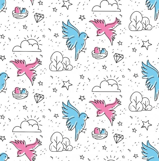Modèle sans couture de couple oiseaux dans un style kawaii doodle Vecteur Premium