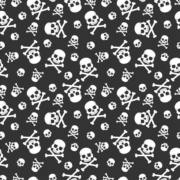 Modèle sans couture de crâne et os croisés pour les vacances halloween. pour le papier peint, l'emballage, l'emballage et la toile de fond. Vecteur Premium