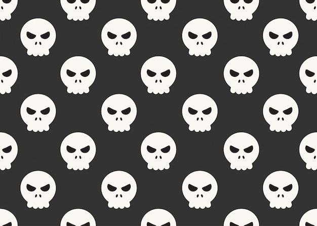 Modèle sans couture de crânes de dessins animés sur fond noir Vecteur Premium