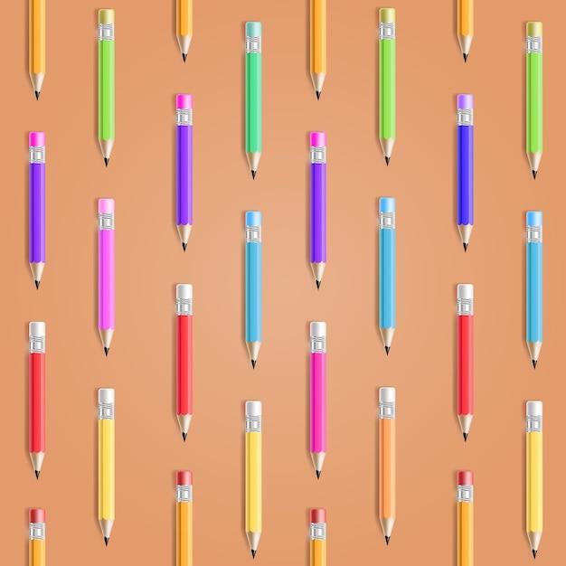 Modèle Sans Couture De Crayon De Vecteur. Contexte De L'éducation Vecteur gratuit