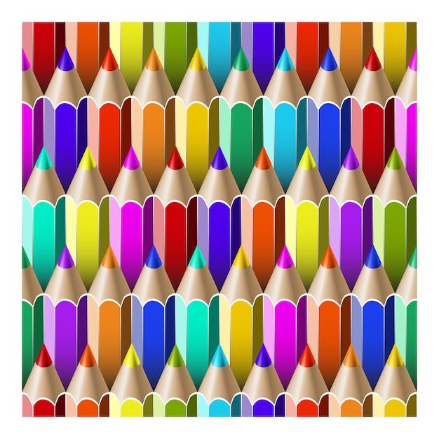 Modèle Sans Couture Avec Des Crayons Multicolores. Vecteur Premium