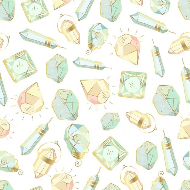 Modèle sans couture avec cristaux colorés ou gemmes Vecteur Premium