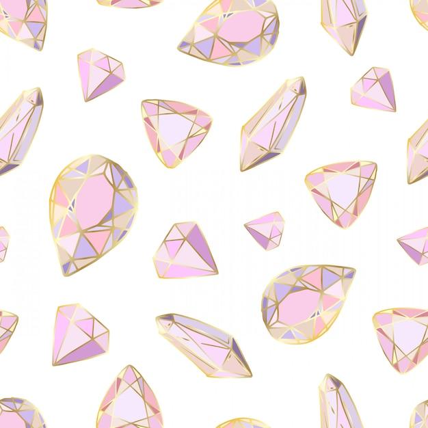 Modèle sans couture avec des cristaux de couleur de vecteur Vecteur Premium