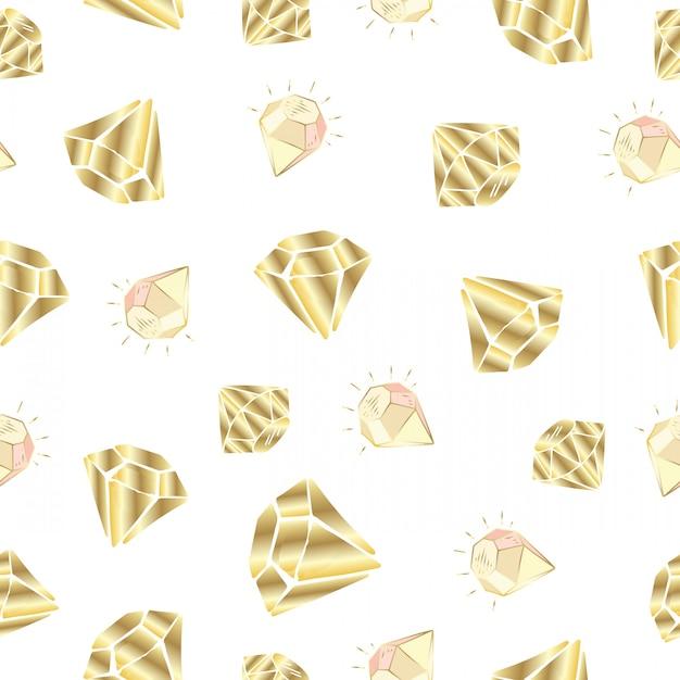 Modèle sans couture avec cristaux ou gemmes de vecteur Vecteur Premium