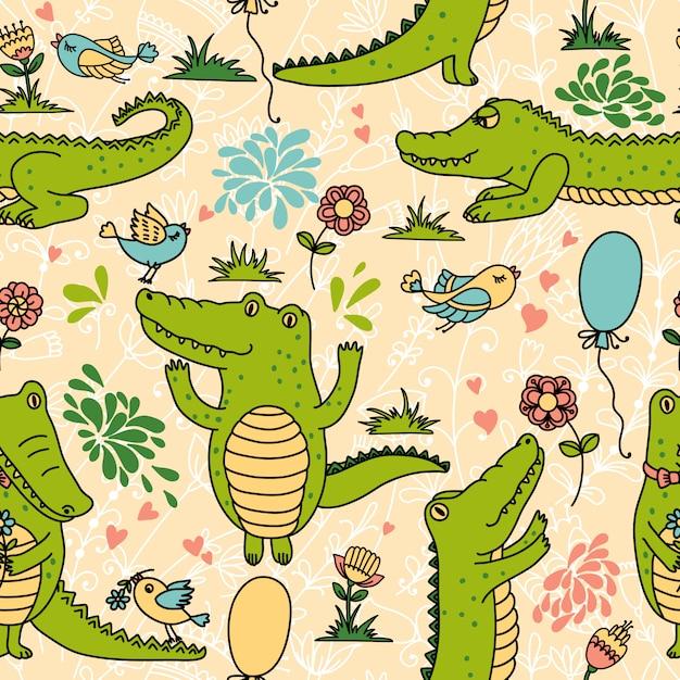 Modèle sans couture avec des crocodiles drôles Vecteur Premium