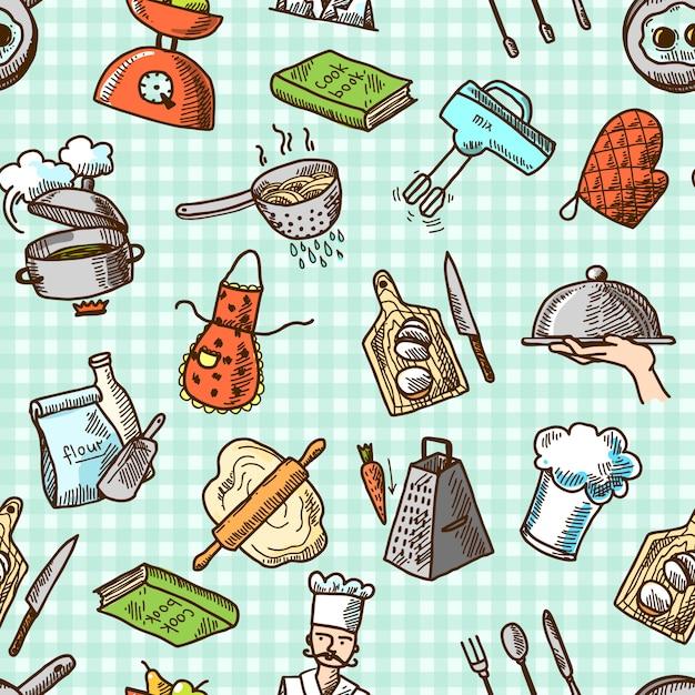 Modèle sans couture de cuisine icônes Vecteur Premium