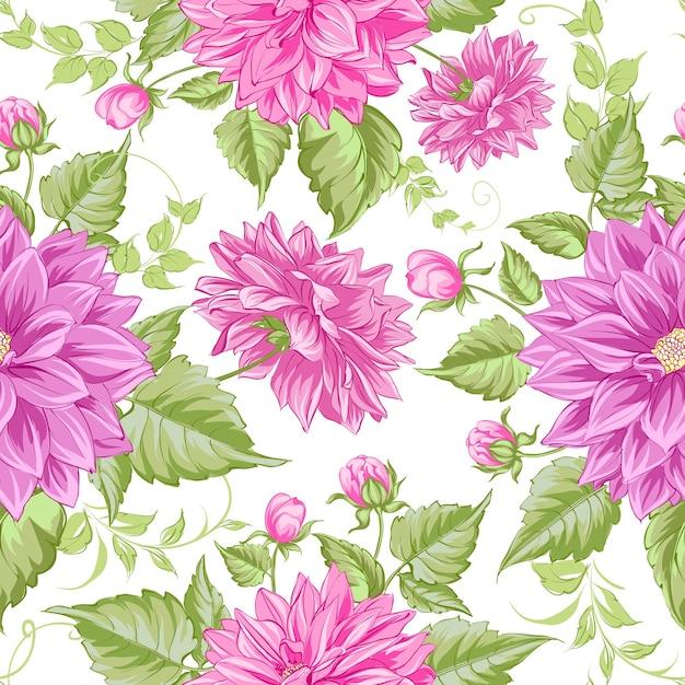 Modèle Sans Couture De Dahlias En Fleurs Vecteur gratuit