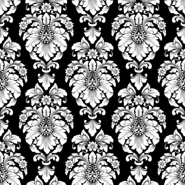 Modèle Sans Couture Damassé De Vecteur. Ornement Damassé à L'ancienne De Luxe Classique, Texture Transparente Victorienne Royale Pour Papiers Peints, Textile, Emballage. Modèle Baroque Floral Exquis. Vecteur gratuit