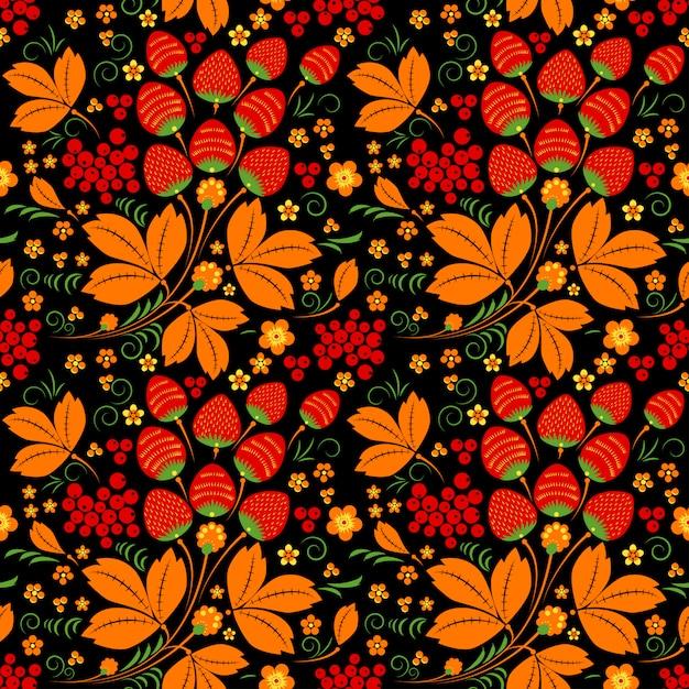 Modèle sans couture dans le style folklorique russe Vecteur Premium