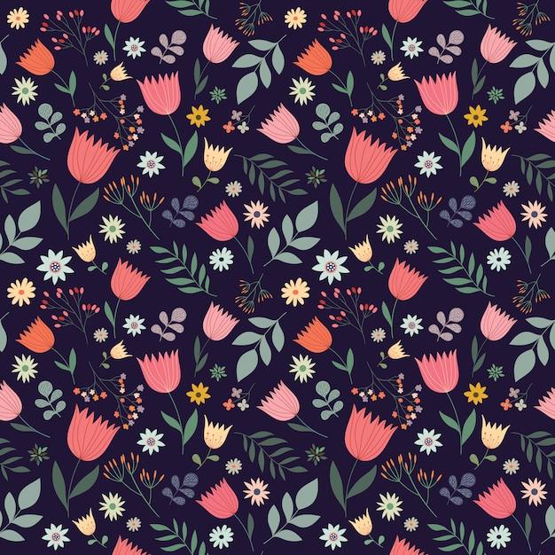 Modèle sans couture décoratif avec des fleurs, dessin vectoriel Vecteur Premium