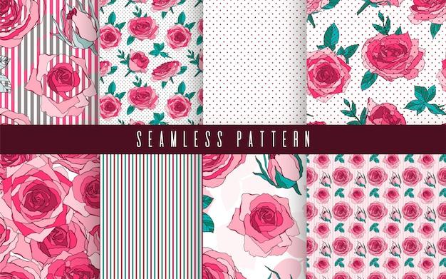 Modèle Sans Couture Définie Fleur Nature Rose. Ornement Floral, Ethnique Romantique Botanique. Vecteur Premium