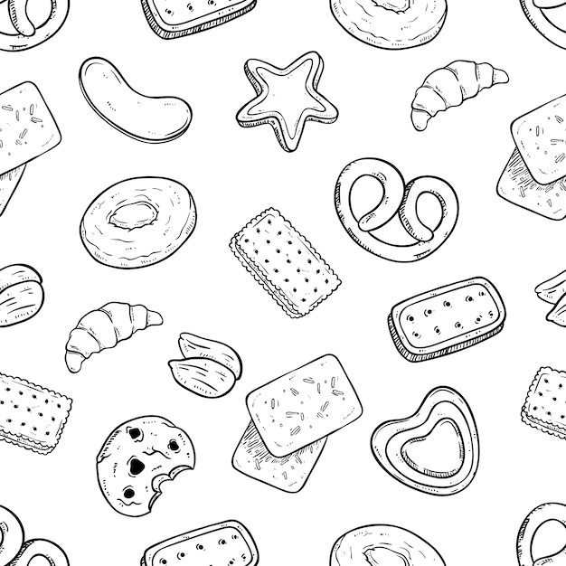 Modèle sans couture de délicieux biscuits avec style dessiné ou croquis à la main Vecteur Premium