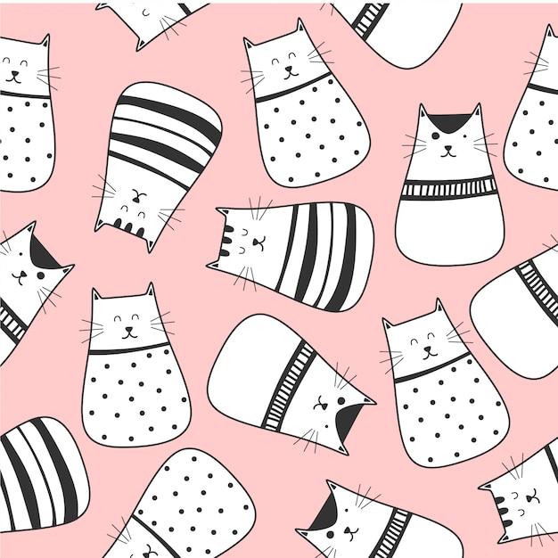 Modèle sans couture de dessin animé de chats mignons Vecteur Premium