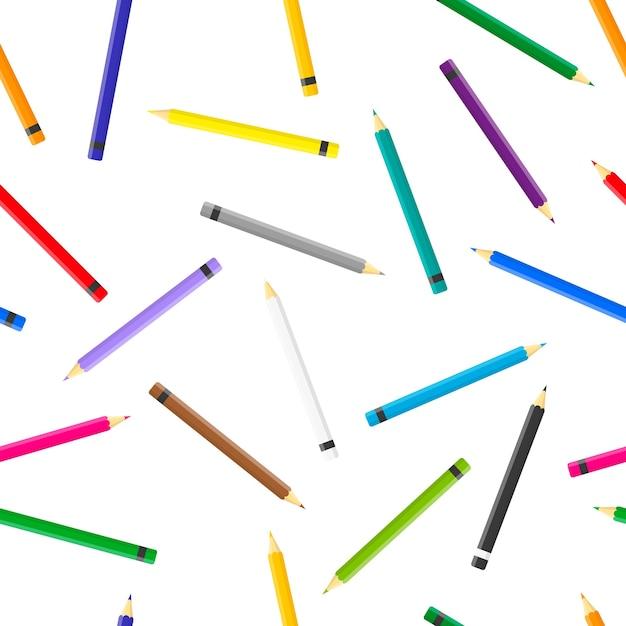 Modèle Sans Couture De Dessin Animé Avec Des Crayons De Couleur Sur Fond Blanc Pour Le Web, Impression, Texture De Tissu Ou Papier Peint. Vecteur Premium