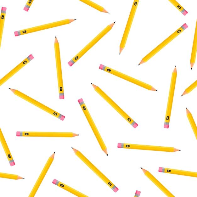 Modèle Sans Couture De Dessin Animé Avec Des Crayons Simples Sur Fond Blanc Pour Le Web, Impression, Texture De Tissu Ou Papier Peint. Vecteur Premium