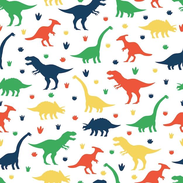 Modèle Sans Couture De Dessin Animé De Dinosaures Et Empreintes De Pas Sur Fond Blanc Pour Papier Peint, Emballage, Emballage Et Toile De Fond. Vecteur Premium