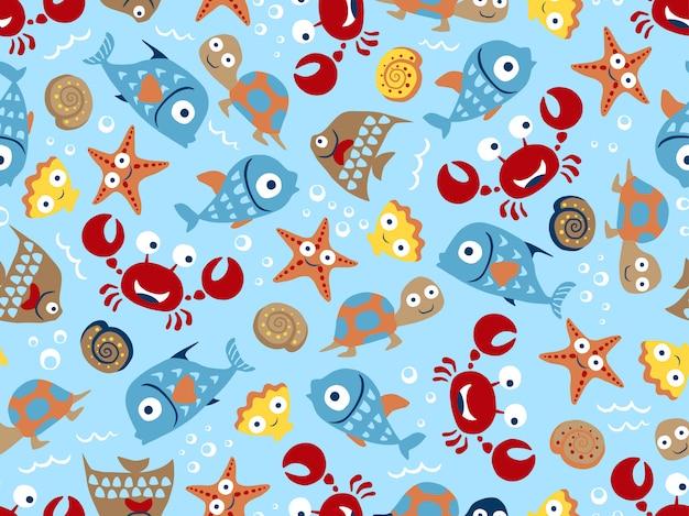 Modèle sans couture de dessin animé drôle d'animaux marins Vecteur Premium