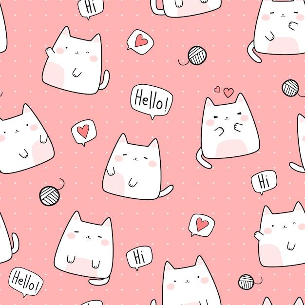Modèle sans couture de dessin animé mignon chat grassouillet chaton doodle Vecteur Premium