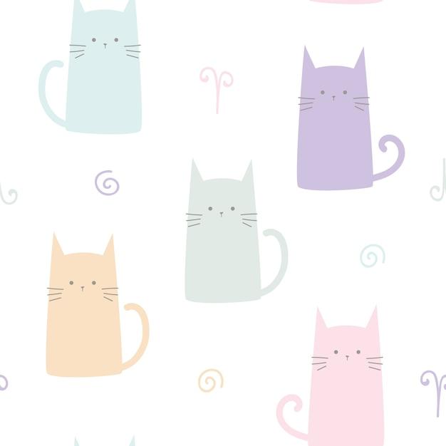 Modèle sans couture dessin animé mignon chaton pastel chat Vecteur Premium